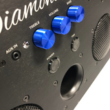 DiamondBoxx Model M3 blue knob close-up diamond bass treble volume bass port