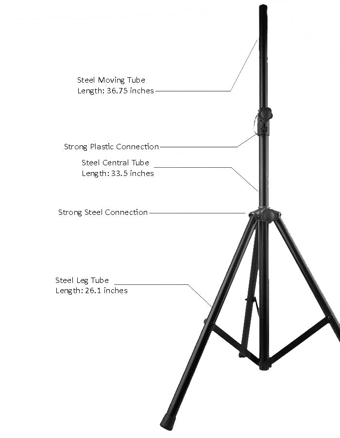 DiamondBoxx Light Weight Aluminum Heavy Duty Adjustable Speaker Tripods with Air Shock