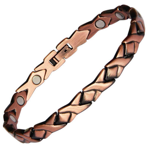 Ladies Copper Link Full Magnetic Bracelet-GaussTherapy