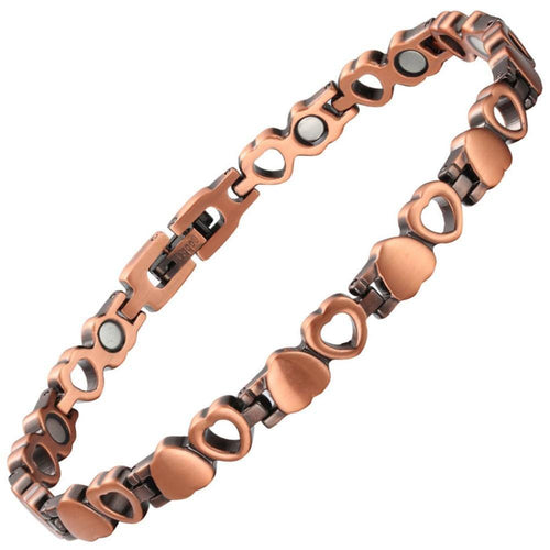 Dainty Love Heart Copper Magnetic Bracelet-GaussTherapy