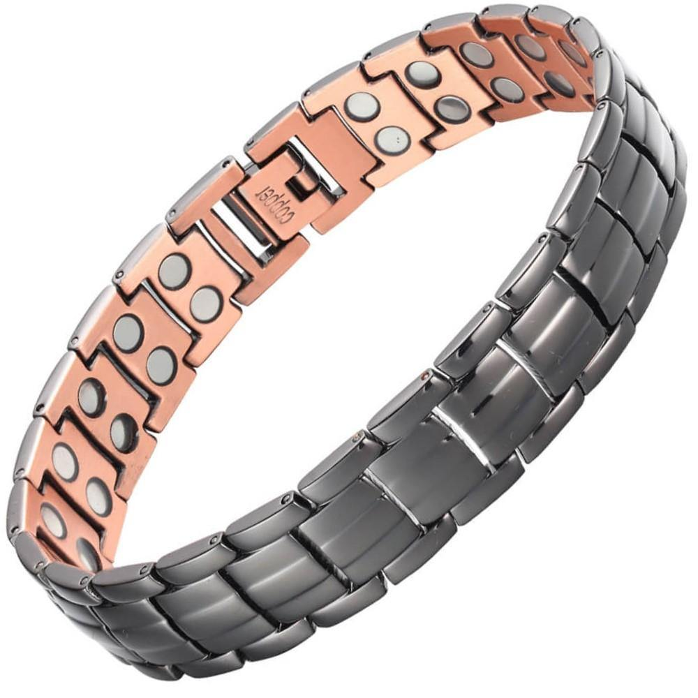 Black Pure Copper Fully Magnetic Bracelet-GaussTherapy