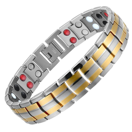 Silver Gold Titanium 4in1 Magnetic Therapy Bracelet-GaussTherapy