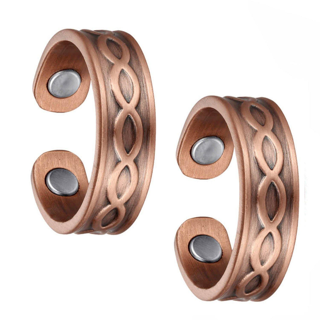 Set of Two - Criss-Cross Copper Magnetic Rings - GaussTherapy