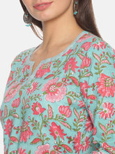 Load image into Gallery viewer, Floral Print Kurta with Split Neckline | NR