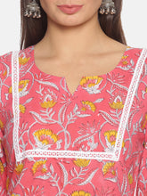 Load image into Gallery viewer, Peach Floral Round V-Neck Kurta Set | NR