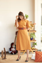 Load image into Gallery viewer, Mustard Office Wear Midi Dress with Round Neck line |  NR