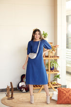Load image into Gallery viewer, Puff Sleeve Navy Blue Midi Dress | NR