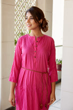 Load image into Gallery viewer, Hand Crushed Design Maxi Tunic Pink Kurta | NR