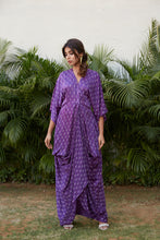 Load image into Gallery viewer, Violet Printed Draped Cowl Dress | NR