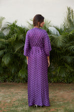 Load image into Gallery viewer, Violet Printed Cowl Bandhani Print Dress | NR