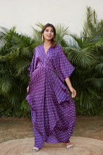 Load image into Gallery viewer, Violet Printed Full Cowl Dress with Overlapping Bodie | NR