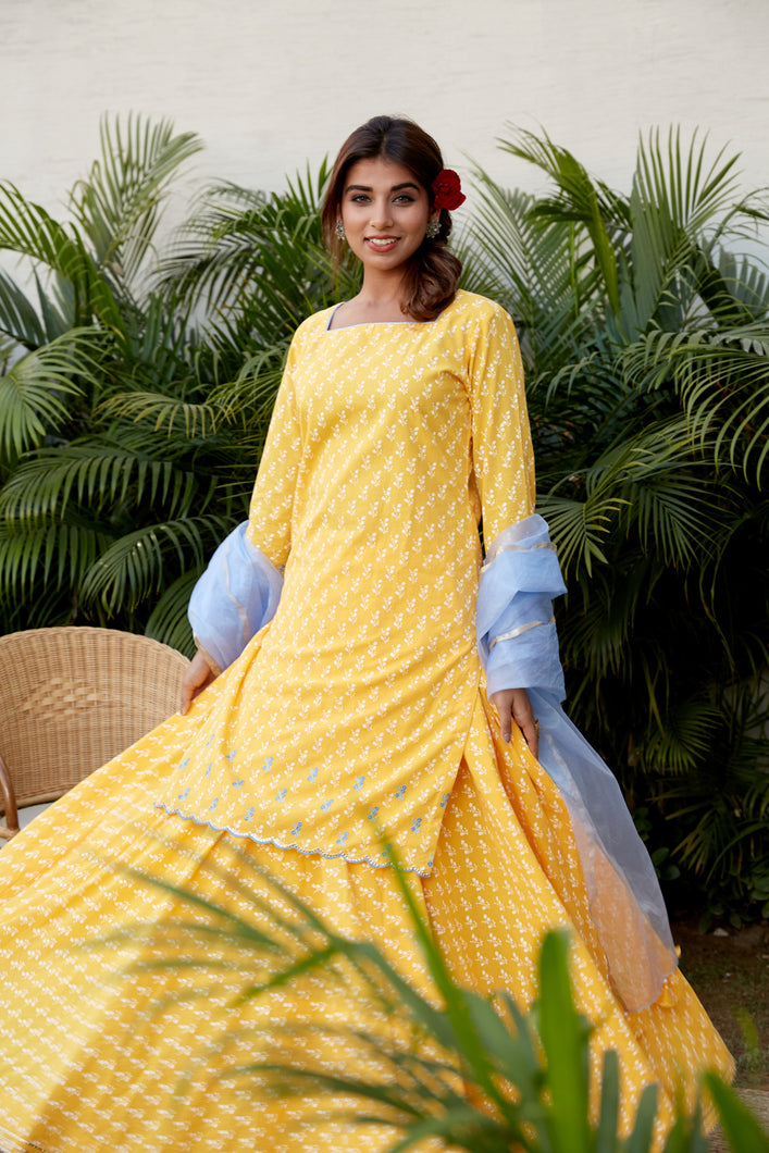 Yellow Kurta Skirt Set | NR