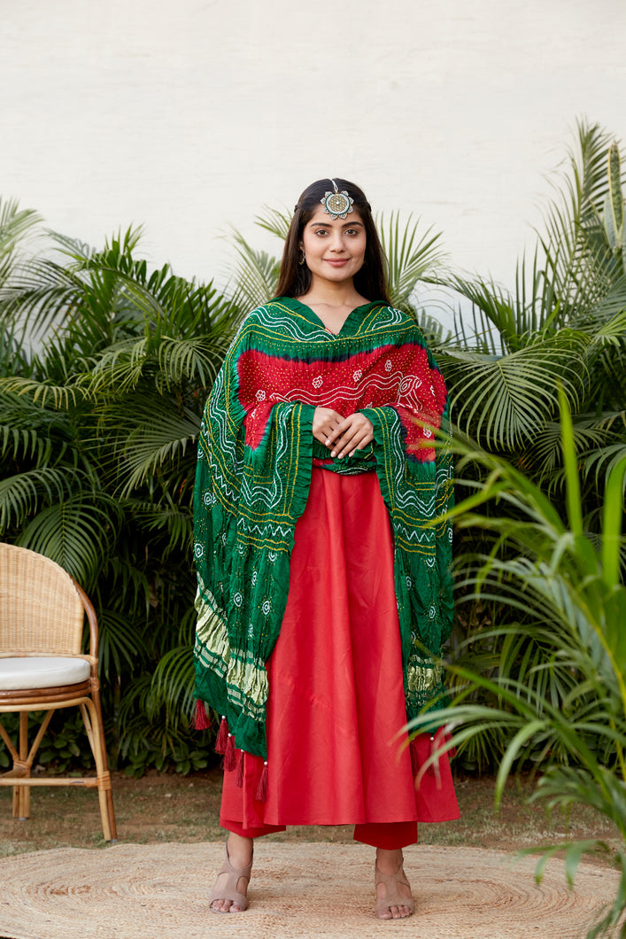 Red Green Bandhej Dupatta | NR