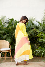 Load image into Gallery viewer, Yellow Mulmul Anarkali Set with Leheriya Dupatta | NR
