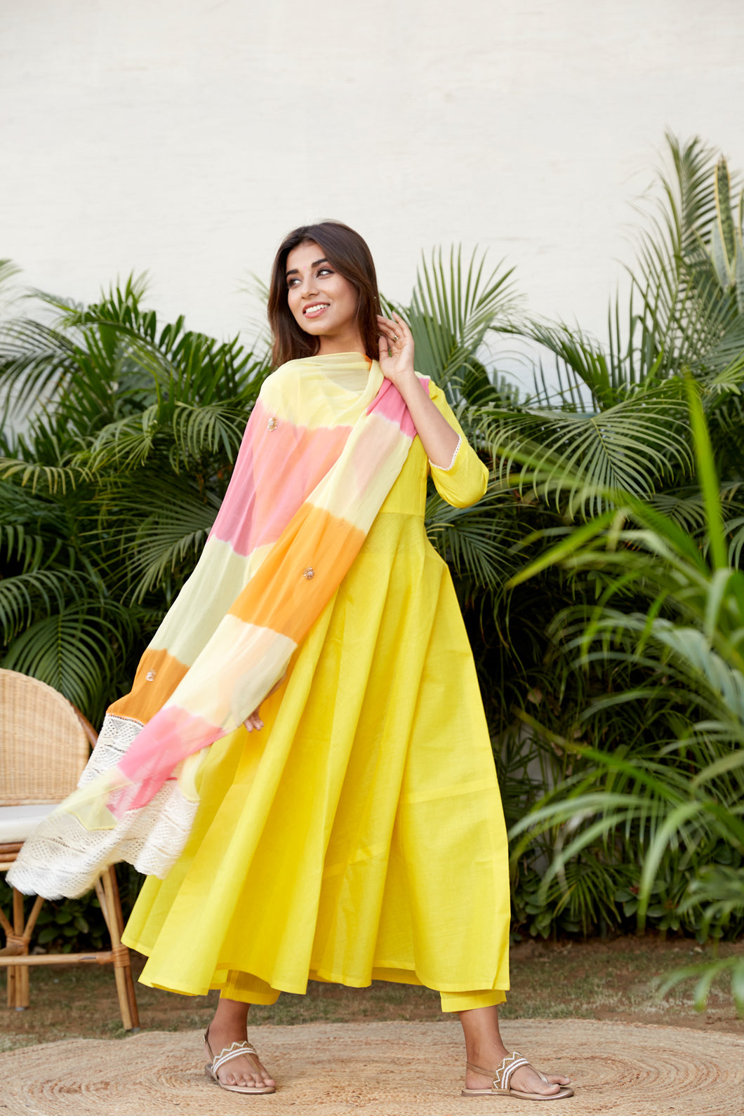 Yellow Mulmul Anarkali Set | NR