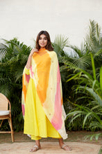 Load image into Gallery viewer, Yellow Mulmul Three Piece Anarkali Set | NR