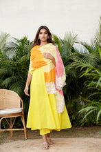 Load image into Gallery viewer, Yellow Mulmul Anarkali Set with 3 Tone Dupatta | NR