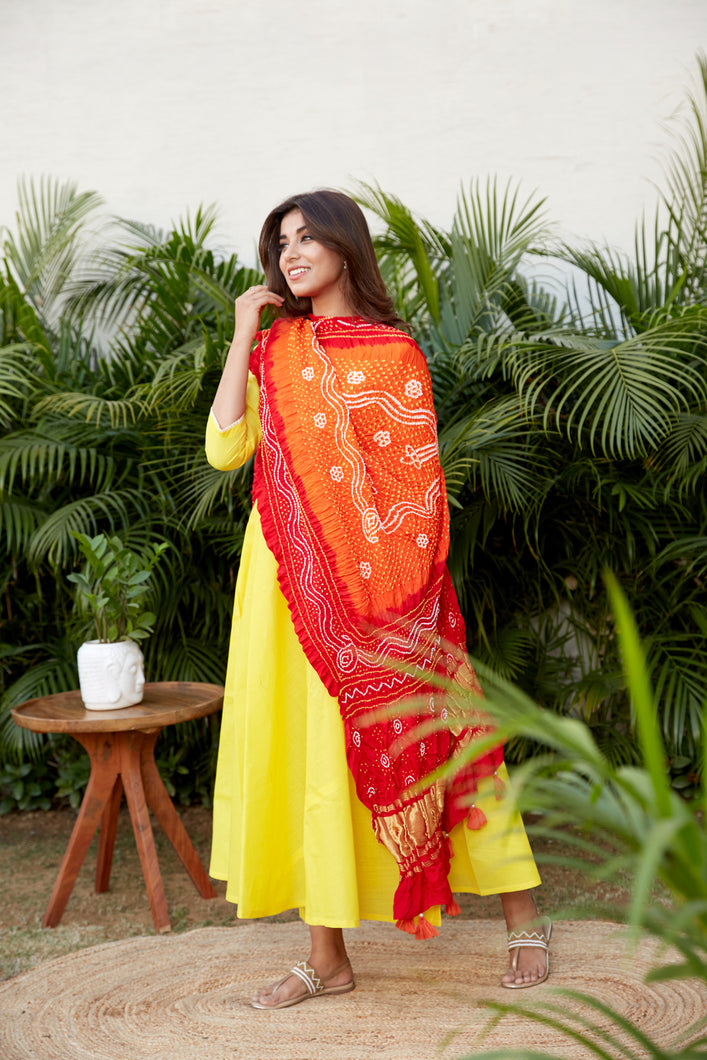 Red Orange Bandhej Dupatta | NR