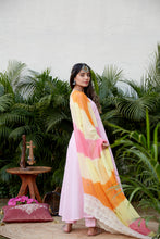 Load image into Gallery viewer, Anarkali with Hand Dyed Multi color Leheriya Dupatta | NR