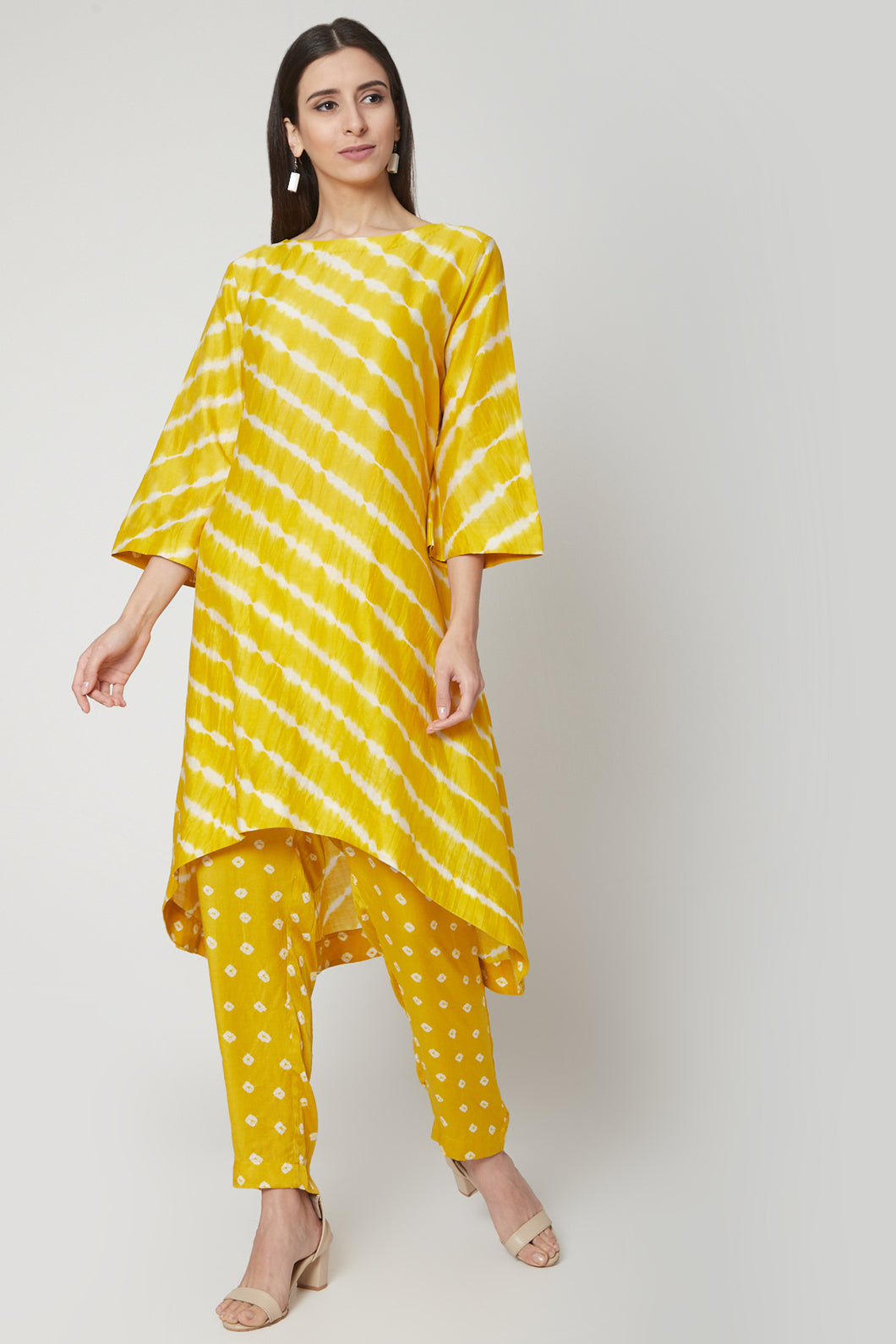 Yellow Leheriya Kurta Set | NR