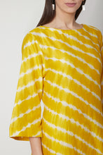 Load image into Gallery viewer, Yellow Leheriya Hand Printed Kurta Set with C-cut shape & 3/4th sleeves | NR