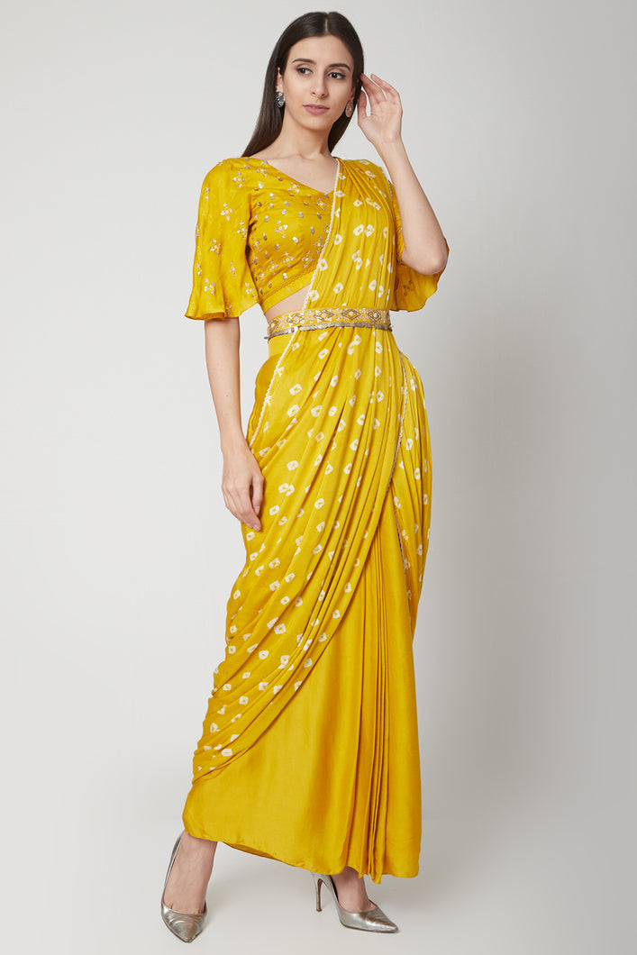 Yellow Pre-Stitched Saree | NR