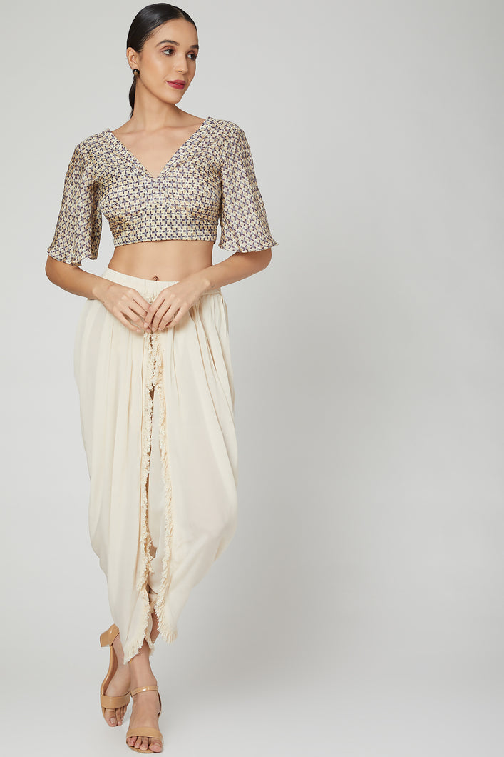 Printed Blouse with Dhoti Pants | NR