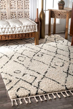 Load image into Gallery viewer, nuLOOM Nieves Moroccan Diamond Tassel Off White Area Rug