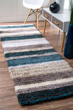 Load image into Gallery viewer, nuLOOM Blue Multi-colored Hand Tufted Classic Shag HJZOM1B Area Rug