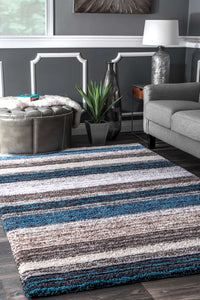 nuLOOM Blue Multi-colored Hand Tufted Classic Shag HJZOM1B Area Rug