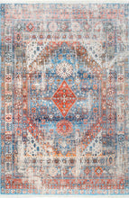 Load image into Gallery viewer, nuLOOM Farley Medallion Fringe Blue Area Rug