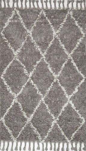 nuLOOM Grey Hand Knotted Fez Shag SPRE14B Area Rug