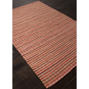 Jaipur Rugs Naturals Stripe Pattern Red Cotton and Jute Area Rug AD15 (Rectangle)