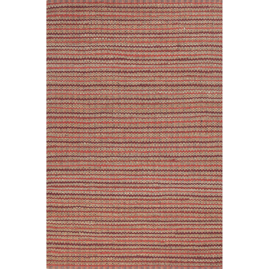 Jaipur Rugs Naturals Stripe Pattern Red Cotton and Jute Area Rug