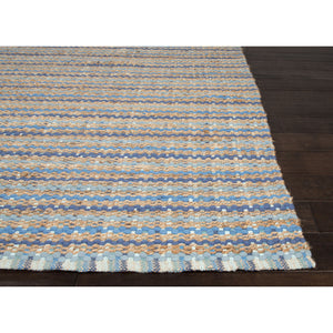 Jaipur Rugs Naturals Stripe Pattern Blue Cotton and Jute Area Rug AD16 (Rectangle)