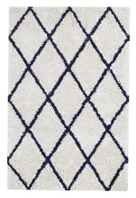 Load image into Gallery viewer, Anji Mountain Ivory Silky Shag Area Rug With Navy Diamond