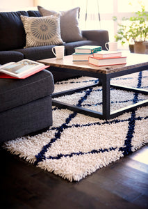Anji Mountain Ivory Silky Shag Area Rug With Navy Diamond
