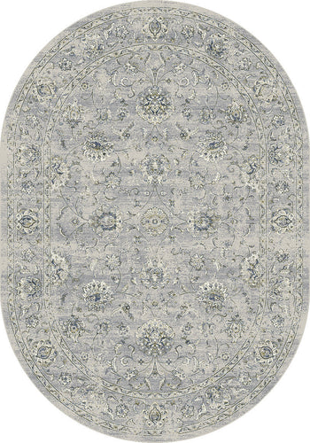 Dynamic Rugs Ancient Garden Silver/Grey Classic Oval Area Rug