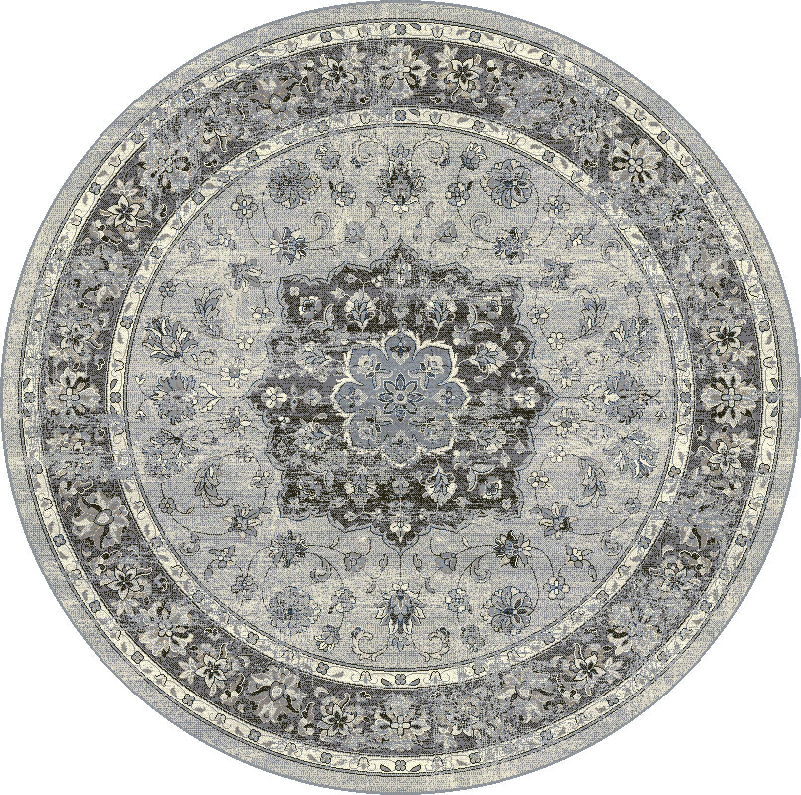 Dynamic Rugs Ancient Garden Silver Grey Distressed Round