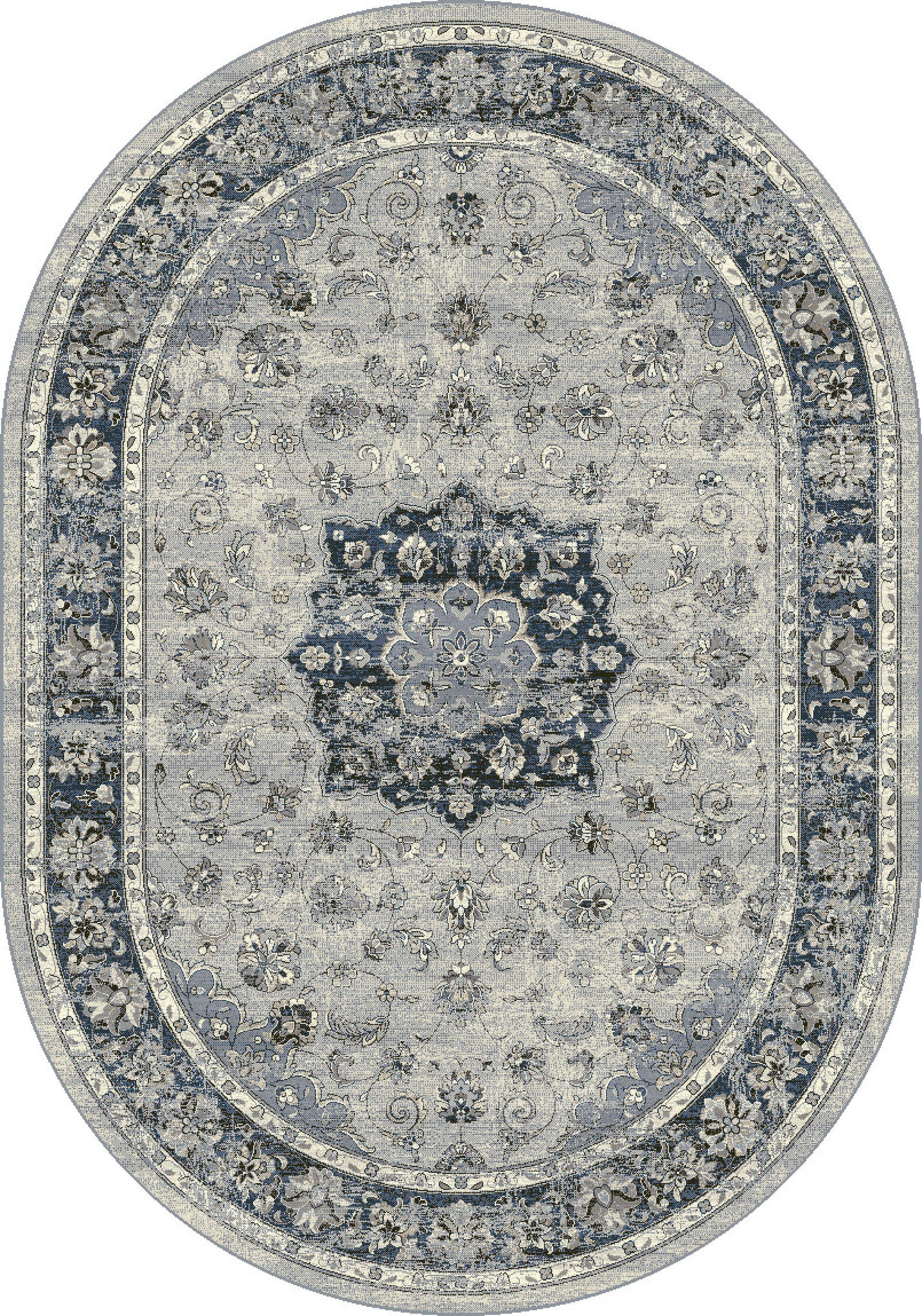 Dynamic Rugs Ancient Garden Silver Blue Distressed Oval