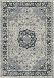 Dynamic Rugs Ancient Garden Silver/Blue Distressed Rectangle Area Rug