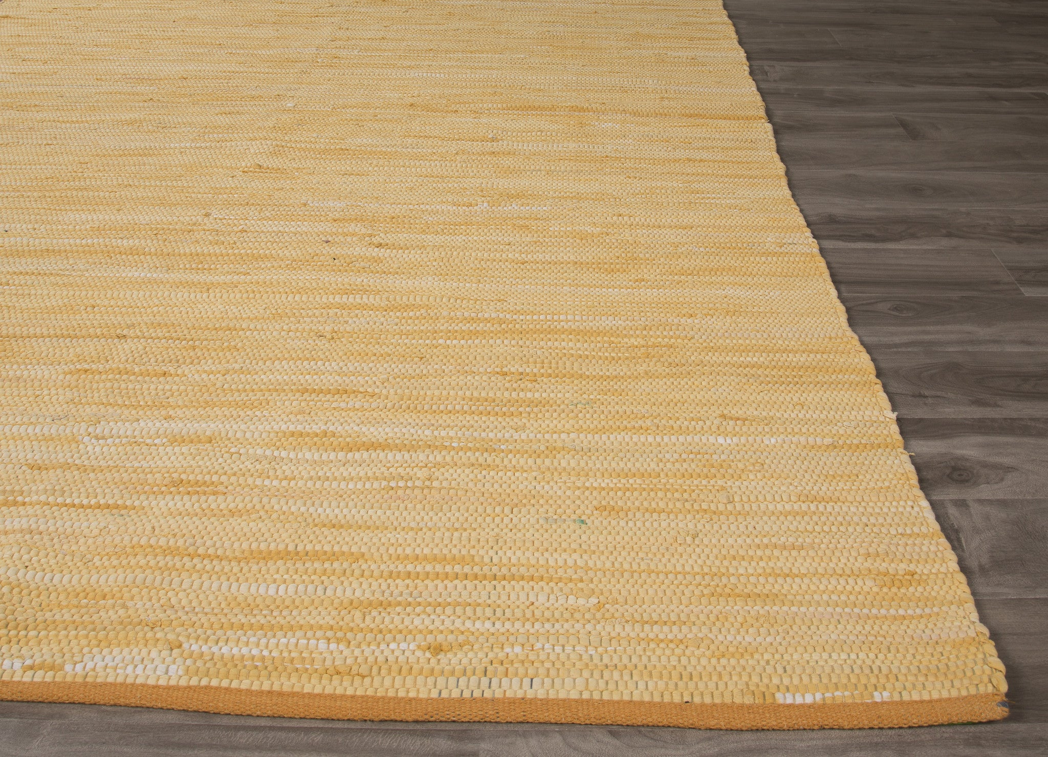 Jaipur Rugs Flatweave Solid Pattern Yellow Gold Cotton