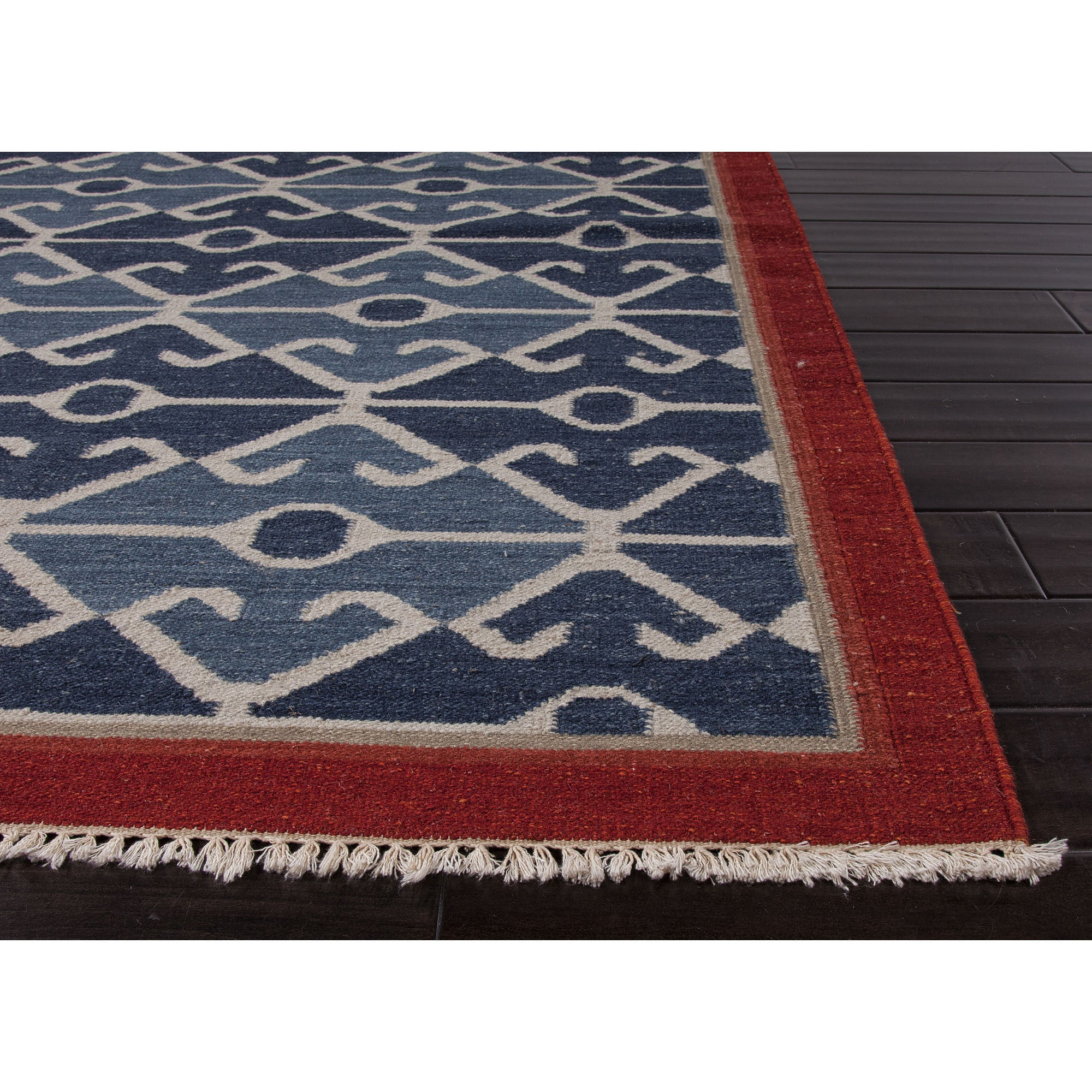 Jaipur Rugs Flatweave Tribal Pattern Blue Red Wool Area