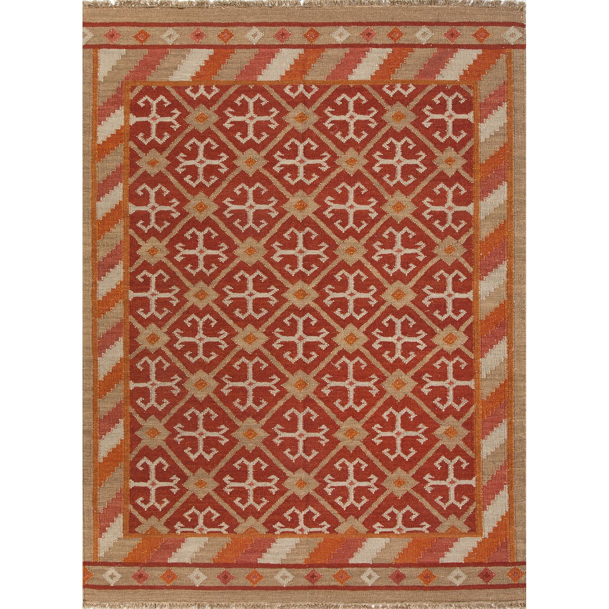Jaipur Rugs Flat-Weave Tribal Pattern Red/Taupe Wool Area Rug