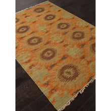 Load image into Gallery viewer, Jaipur Rugs FlatWeave Tribal Pattern Orange/Green Wool Area Rug AT09 (Rectangle)