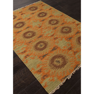 Jaipur Rugs FlatWeave Tribal Pattern Orange/Green Wool Area Rug AT09 (Rectangle)