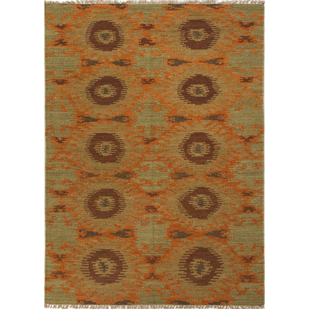 Jaipur Rugs Flat-Weave Tribal Pattern Orange/Green Wool Area Rug