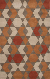 Jaipur Rugs Modern Geometric Pattern Orange/Brown Wool Area Rug