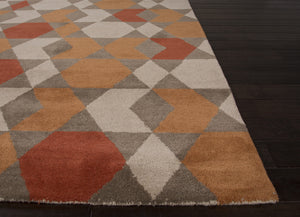 Jaipur Rugs Modern Geometric Pattern Orange/Brown Wool Area Rug AZT04 (Rectangle)