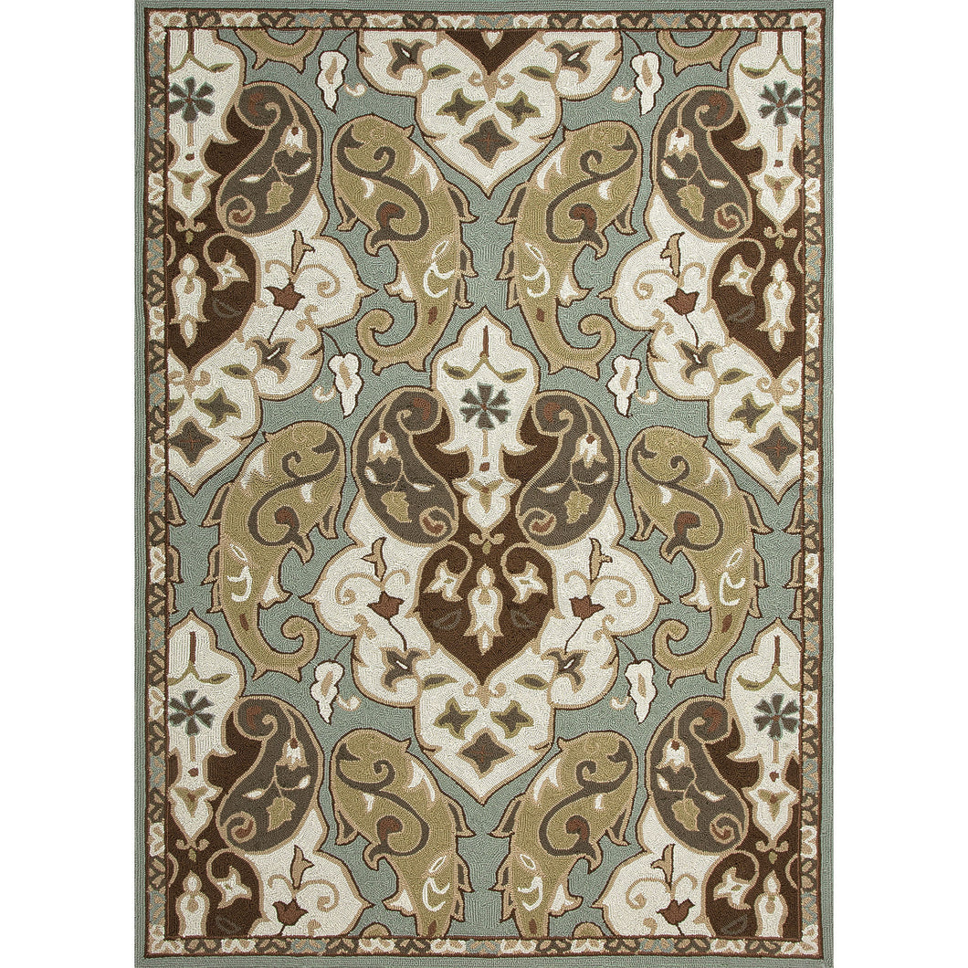Jaipur Rugs Indoor-Outdoor Floral Pattern Blue/Ivory Polypropylene Area Rug
